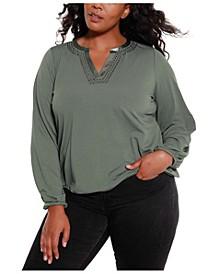 Black Label Women's Plus Size Studded Blouson Sleeve Top
