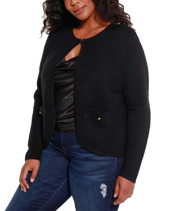 Belldini Black Label Women's Plus Size Ribbed Open Cardigan with Shoulder Epaulet