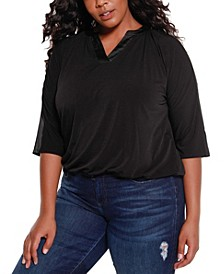 Black Label Women's Plus Size Dolman Sleeve Top