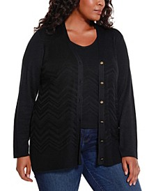 Black Label Women's Plus Size Chevron Pattern Cardigan and Tank Twinset
