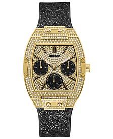 Women's Black Glitter Silicone Strap Watch 38mm