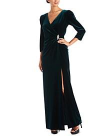 Embellished-Trim Side-Ruched Velvet Gown