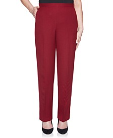Madison Ave Petite Pull-On Back Elastic Textured Proportioned Medium Pant