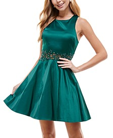 Juniors' Embellished Appliqué-Waist Dress