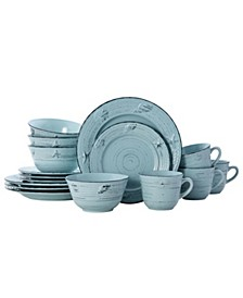 trellis coastal 16 pc dinnerware set, service for 4