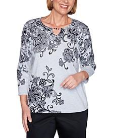 Petite Cotton Printed Keyhole Sweater