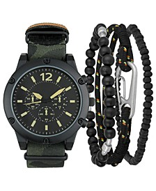 INC Men's Olive Camouflage NATO Strap Watch 47mm & Bracelets Set, Created for Macy's