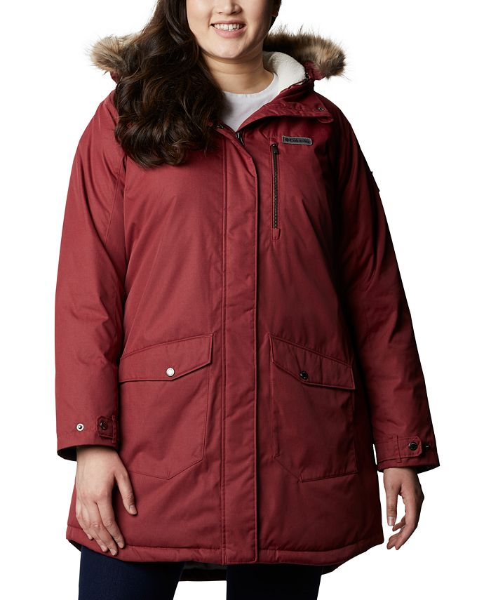Columbia - Plus Size Suttle Mountain™ Hooded Faux-Fur-Trim Long Insulated Jacket
