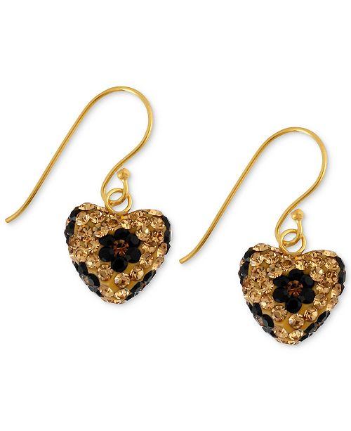 Betsey Johnson Antique Gold-Tone Crystal Leopard Heart Drop Earrings
