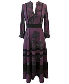 Openwork-Trim Midi Dress