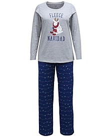 Matching Plus Size Fleece Navidad Family Pajama Set, Created for Macy's