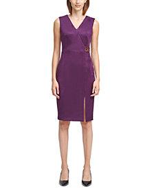 Calvin Klein Scuba-Crepe Faux-Suede Buckle-Detail Sheath Dress