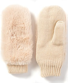 INC Faux-Fur Mittens, Created for Macy's