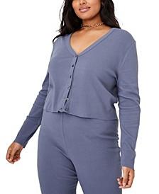 Plus Size Bella Button Through Crop Cardigan