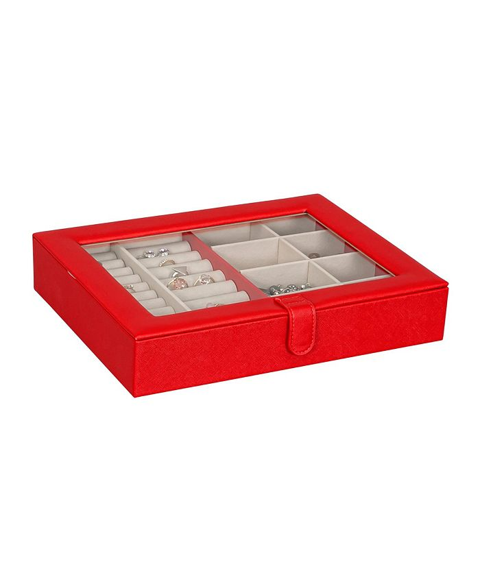 Mele & Co - Crystal Glass Top Fashion Jewelry Case in Textured Red Vegan Leather