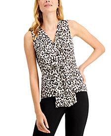 INC Animal-Print Draped-Twist V-Neck Top, Created for Macy's