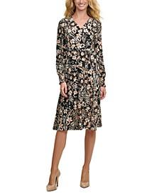 Floral Smocked-Sleeve Fit & Flare Dress