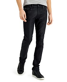 Men's Slim-Fit Tapered Jeans with Faux-Leather Piecing