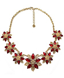 "Gold-Tone Crystal Poinsettia Statement Necklace, 17"" + 2"" extender, Created for Macy's"