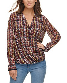 Printed Faux-Wrap Top