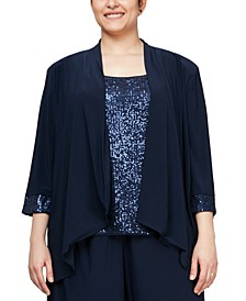 Plus Size Cascade Ruffle Jacket & Sequinned Tank Top Set
