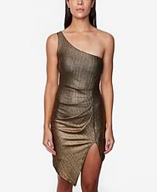 Juniors' One-Shoulder Foil Dress