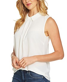Petite Textured Pleat-Front Top