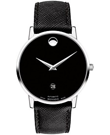 Men's Swiss Automatic Museum Black Calfskin Leather Strap Watch 40mm