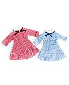 """Little House on The Prairie Set of 2 Laura and Mary Ingalls Check Dresses, 18"""" Doll Clothes, Compatible with 18"""" American Girl Dolls"""