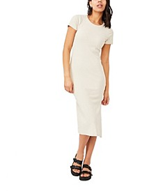 Women's Essential Split Short Sleeve Midi Dress