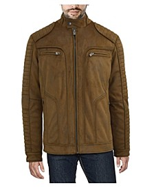 Men's Hooded Faux-Leather Jacket