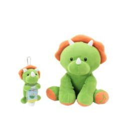 Animal Adventure WelloBeez Musical Clean Crew Plush Dino and Plush Keychain with Empty, Refillable Sanitizer Bottle and Child's Face Mask