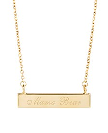 14K Gold Plated Mama Bear Bar Necklace