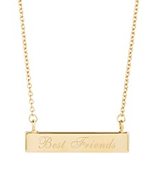 14K Gold Plated Best Friends Bar Necklace