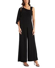 One-Shoulder Embellished Jumpsuit