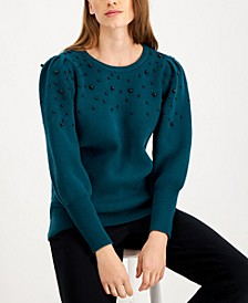 Beaded Puff-Sleeve Sweater, Created for Macy's