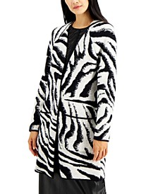 Petite Zebra-Print Open-Front Cardigan, Created for Macy's