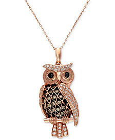 Confetti by EFFY White and Brown Diamond Owl Pendant Necklace (1/2 ct. t.w.) in 14k Rose Gold