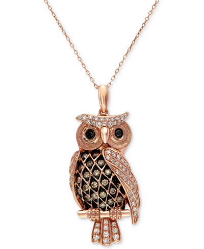 Confetti by effy white and brown diamond owl pendant necklace 12 confetti by effy white and brown diamond owl pendant necklace 12 ct aloadofball Image collections