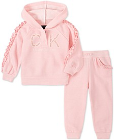 Baby Girls 2-Pc. Fleece Logo-Print Hoodie & Sweatpants Set
