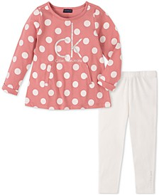 Baby Girls 2-Pc. Polka Dot Logo-Print Tunic & Leggings Set