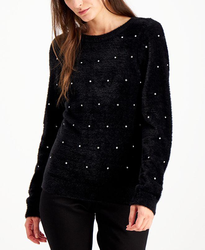 INC International Concepts INC Rhinestone-Embellished Eyelash Sweater, Created for Macy's