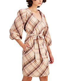 INC Puff-Sleeve Wrap Dress, Created for Macy's