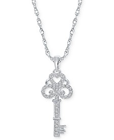 """Diamond Key 18"""" Pendant Necklace (1/6 ct. t.w.) in Sterling Silver"""