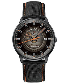 Men's Swiss Automatic Commander Gradient Black Fabric Strap Watch 40mm