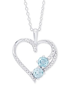 "Blue Topaz (1-1/8 ct. t.w.) & Cubic Zirconia  Open Heart 18"" Pendant Necklace in Sterling Silver"