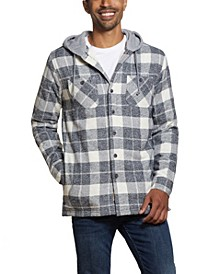 Men's Sherpa Lined Shirt Jacket with Hood