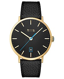 Norrebro Men's Black Leather Strap Watch 40mm