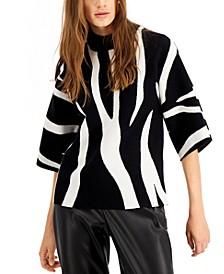 Petite Zebra-Print Sweater, Created for Macy's