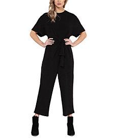 Black Tape Knot-Front Culotte Jumpsuit, in Regular & Petite